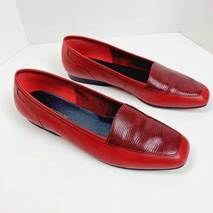 Enzo Angiolini Leather Liberty Red Slip on Flats